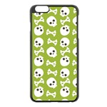 Skull Bone Mask Face White Green Apple iPhone 6 Plus/6S Plus Black Enamel Case Front