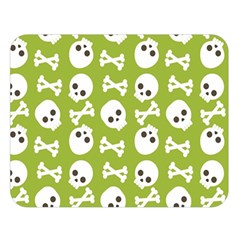 Skull Bone Mask Face White Green Double Sided Flano Blanket (large)  by Alisyart