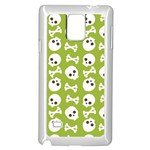Skull Bone Mask Face White Green Samsung Galaxy Note 4 Case (White) Front