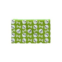 Skull Bone Mask Face White Green Cosmetic Bag (xs) by Alisyart