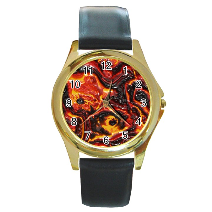 Lava Active Volcano Nature Round Gold Metal Watch