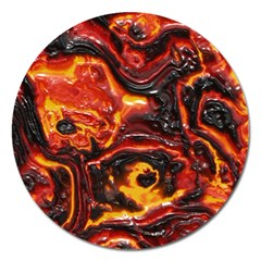 Lava Active Volcano Nature Magnet 5  (round) by Alisyart