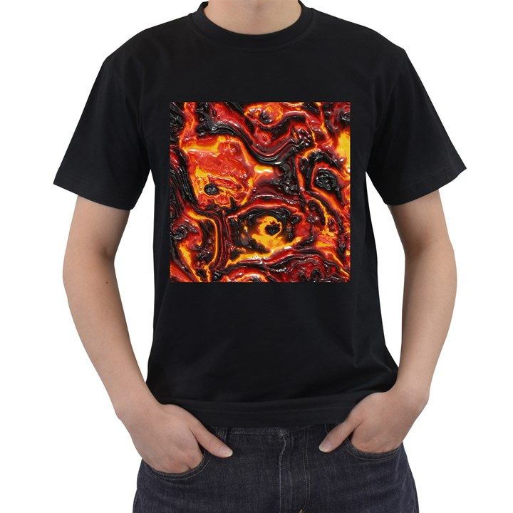 Lava Active Volcano Nature Men s T-Shirt (Black) (Two Sided)