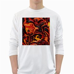 Lava Active Volcano Nature White Long Sleeve T Shirts