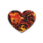 Lava Active Volcano Nature Rubber Coaster (Heart)  Front