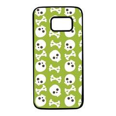 Skull Bone Mask Face White Green Samsung Galaxy S7 Black Seamless Case by Alisyart