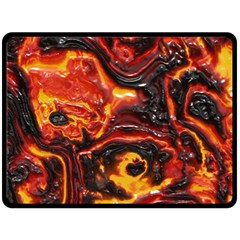 Lava Active Volcano Nature Fleece Blanket (large)  by Alisyart