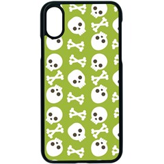 Skull Bone Mask Face White Green Apple iPhone X Seamless Case (Black)