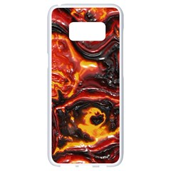 Lava Active Volcano Nature Samsung Galaxy S8 White Seamless Case by Alisyart