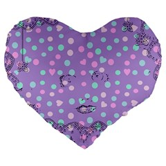 Little Face Large 19  Premium Flano Heart Shape Cushions
