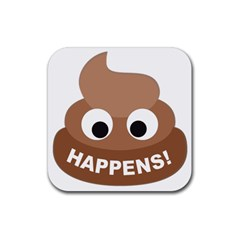 Poo Happens Rubber Square Coaster (4 Pack)