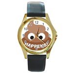 Poo Happens Round Gold Metal Watch Front