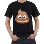 Poo Happens Men s T-Shirt (Black) (Two Sided) Front