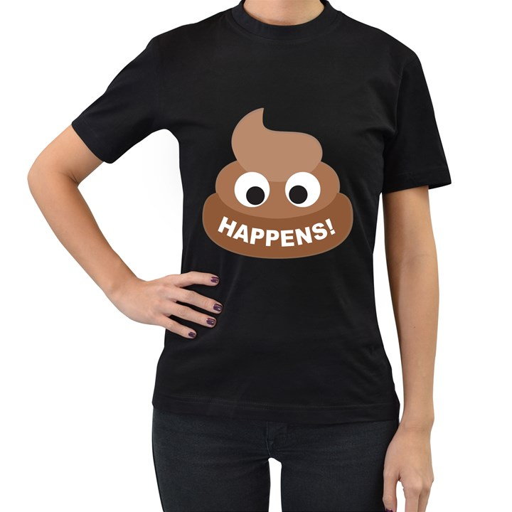 Poo Happens Women s T-Shirt (Black) (Two Sided)