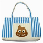 Poo Happens Striped Blue Tote Bag Front