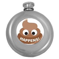 Poo Happens Round Hip Flask (5 Oz) by Vitalitee