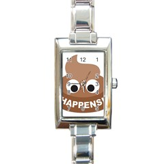 Poo Happens Rectangle Italian Charm Watch by Vitalitee