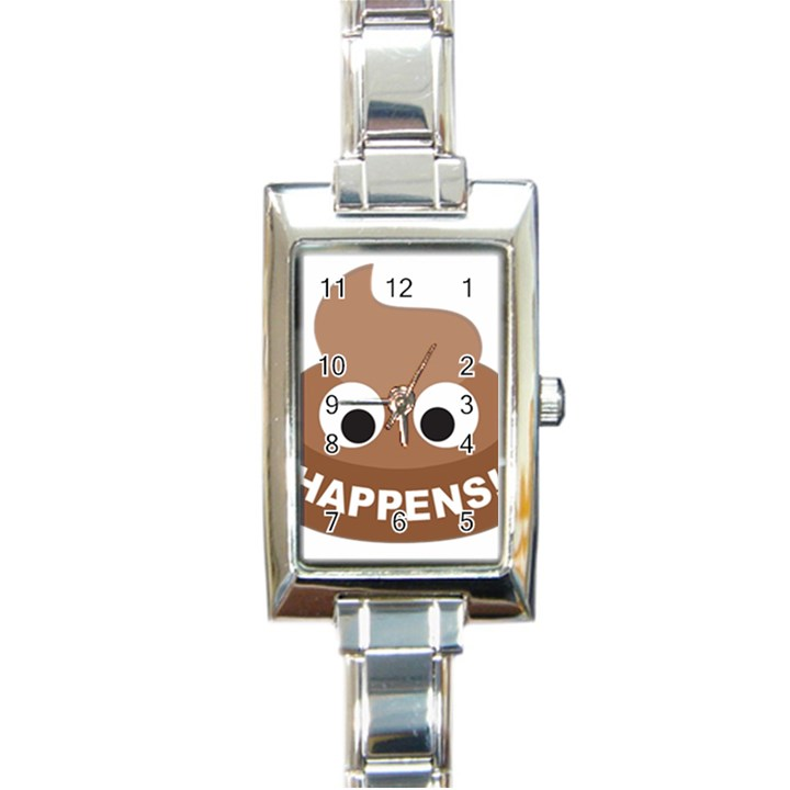 Poo Happens Rectangle Italian Charm Watch