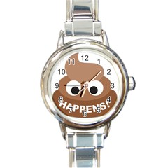 Poo Happens Round Italian Charm Watch by Vitalitee
