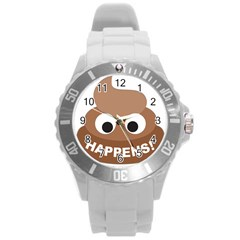 Poo Happens Round Plastic Sport Watch (l) by Vitalitee