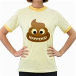 Poo Happens Women s Fitted Ringer T-Shirts Front