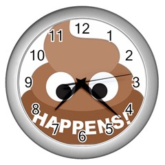Poo Happens Wall Clocks (silver)  by Vitalitee