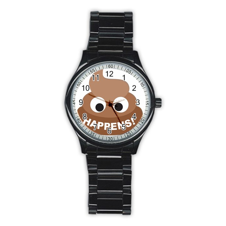 Poo Happens Stainless Steel Round Watch