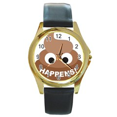 Poo Happens Round Gold Metal Watch by Vitalitee