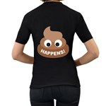 Poo Happens Women s T-Shirt (Black) (Two Sided) Back