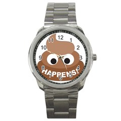Poo Happens Sport Metal Watch by Vitalitee