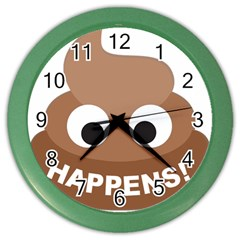 Poo Happens Color Wall Clocks by Vitalitee