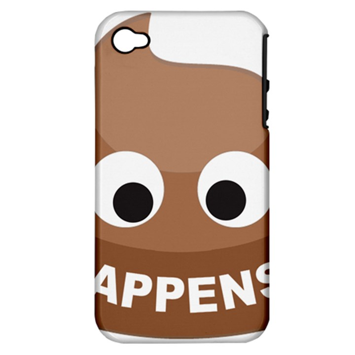 Poo Happens Apple iPhone 4/4S Hardshell Case (PC+Silicone)