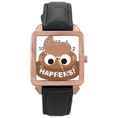 Poo Happens Rose Gold Leather Watch  by Vitalitee