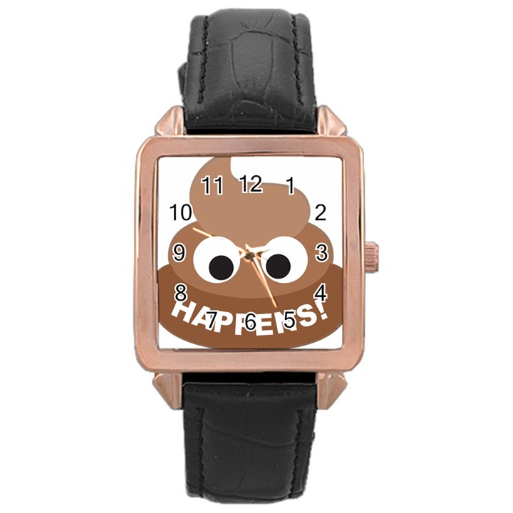 Poo Happens Rose Gold Leather Watch
