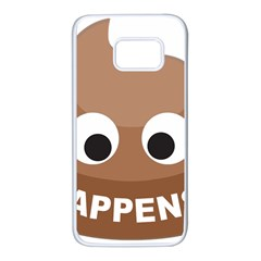 Poo Happens Samsung Galaxy S7 White Seamless Case by Vitalitee