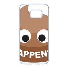 Poo Happens Samsung Galaxy S7 Edge White Seamless Case by Vitalitee