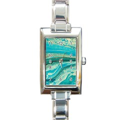 Mint,gold,marble,nature,stone,pattern,modern,chic,elegant,beautiful,trendy Rectangle Italian Charm Watch