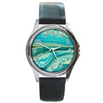 Mint,gold,marble,nature,stone,pattern,modern,chic,elegant,beautiful,trendy Round Metal Watch Front