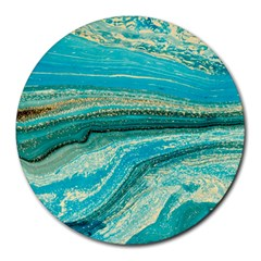 Mint,gold,marble,nature,stone,pattern,modern,chic,elegant,beautiful,trendy Round Mousepads by 8fugoso