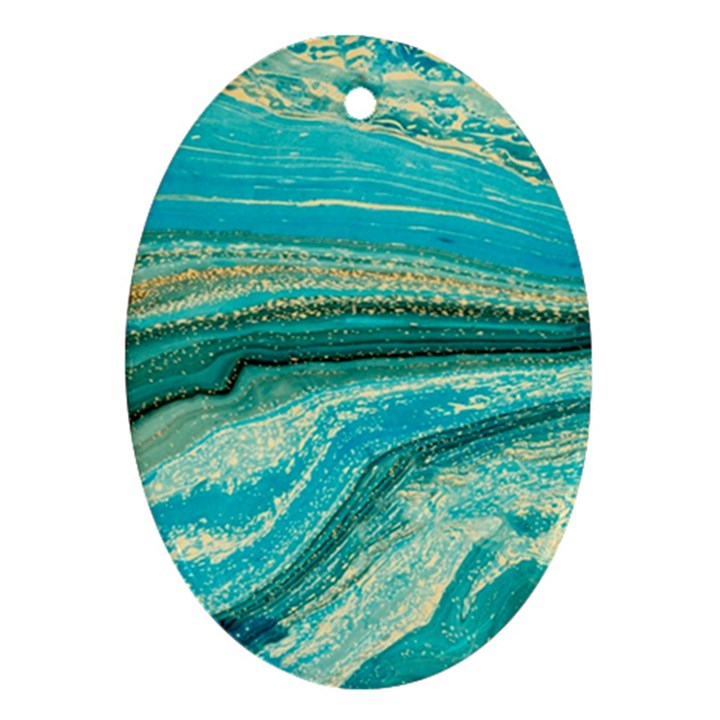 Mint,gold,marble,nature,stone,pattern,modern,chic,elegant,beautiful,trendy Ornament (Oval)