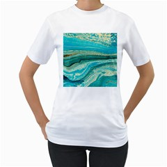 Mint,gold,marble,nature,stone,pattern,modern,chic,elegant,beautiful,trendy Women s T-Shirt (White) (Two Sided)