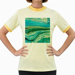 Mint,gold,marble,nature,stone,pattern,modern,chic,elegant,beautiful,trendy Women s Fitted Ringer T-Shirts