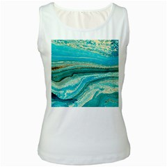 Mint,gold,marble,nature,stone,pattern,modern,chic,elegant,beautiful,trendy Women s White Tank Top