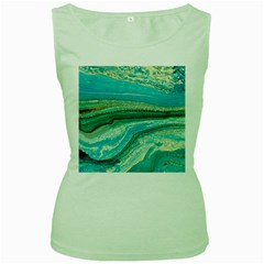 Mint,gold,marble,nature,stone,pattern,modern,chic,elegant,beautiful,trendy Women s Green Tank Top