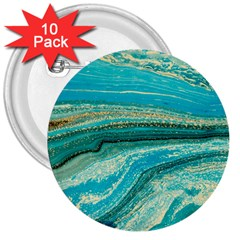 Mint,gold,marble,nature,stone,pattern,modern,chic,elegant,beautiful,trendy 3  Buttons (10 Pack)  by 8fugoso