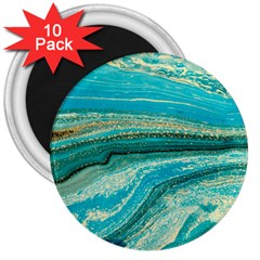 Mint,gold,marble,nature,stone,pattern,modern,chic,elegant,beautiful,trendy 3  Magnets (10 Pack)  by 8fugoso