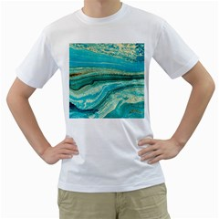 Mint,gold,marble,nature,stone,pattern,modern,chic,elegant,beautiful,trendy Men s T-Shirt (White) (Two Sided)