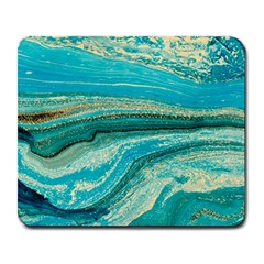 Mint,gold,marble,nature,stone,pattern,modern,chic,elegant,beautiful,trendy Large Mousepads