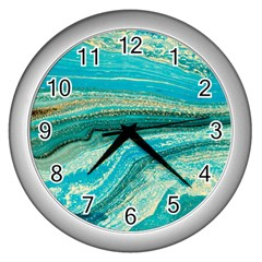 Mint,gold,marble,nature,stone,pattern,modern,chic,elegant,beautiful,trendy Wall Clocks (silver)  by 8fugoso