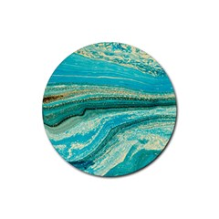 Mint,gold,marble,nature,stone,pattern,modern,chic,elegant,beautiful,trendy Rubber Coaster (Round)